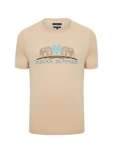 Hemington Hint Desen Bisiklet Yaka Camel Pamuk T-Shirt Camel